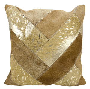 Nourison Natural Leather And Hide Pillow S2039 Beige Gold