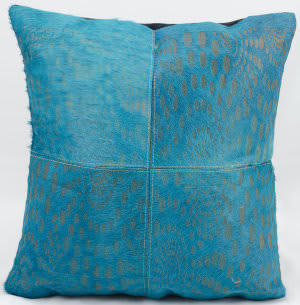 Nourison Pillows Natural Leather Hide S2200 Turquoise