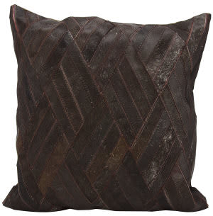 Nourison Natural Leather And Hide Pillow S5117 Brown