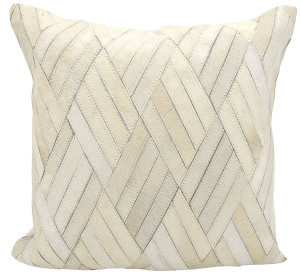Nourison Natural Leather And Hide Pillow S5117 White