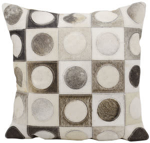 Nourison Natural Leather And Hide Pillow S6001 Silver