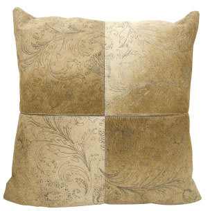 Nourison Natural Leather And Hide Pillow S6064 Beige