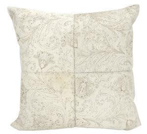 Nourison Natural Leather And Hide Pillow S6064 White