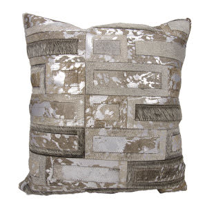 Nourison Natural Leather And Hide Pillow S6076 Grey Silver