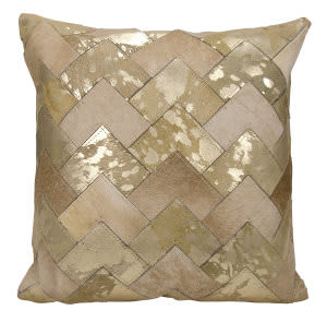 Nourison Natural Leather And Hide Pillow S6081 Beige Gold