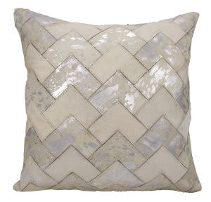 Nourison Natural Leather And Hide Pillow S6081 White Silver