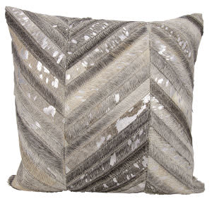 Nourison Natural Leather And Hide Pillow S6102 Grey Silver