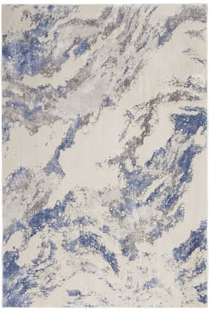 Nourison Silky Textures Sly03 Blue - Ivory - Grey Area Rug