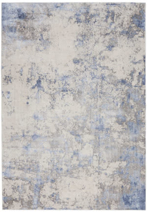 Nourison Silky Textures Sly04 Blue - Ivory - Grey Area Rug