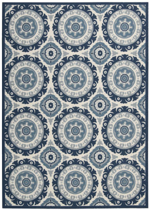 Nourison Wav01-Sun And Shade Snd16 Navy Area Rug