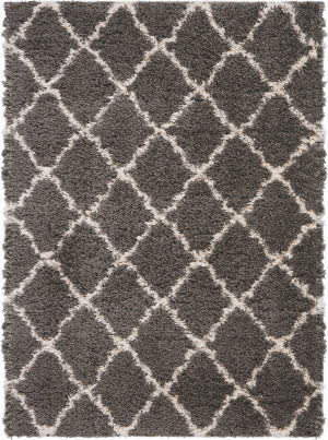 Nourison Luxe Shag Lxs02 Charcoal - Beige Area Rug