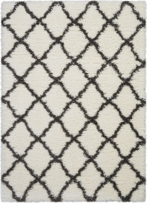 Nourison Luxe Shag Lxs02 Ivory - Charcoal Area Rug