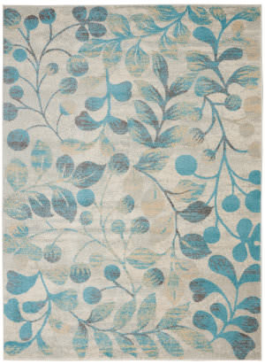 Nourison Tranquil Tra03 Ivory - Turquoise Area Rug