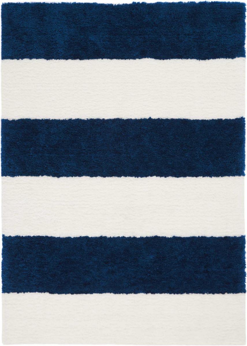 Image of: Calvin Klein Chicago Shag Ck722 White Navy Rug Studio