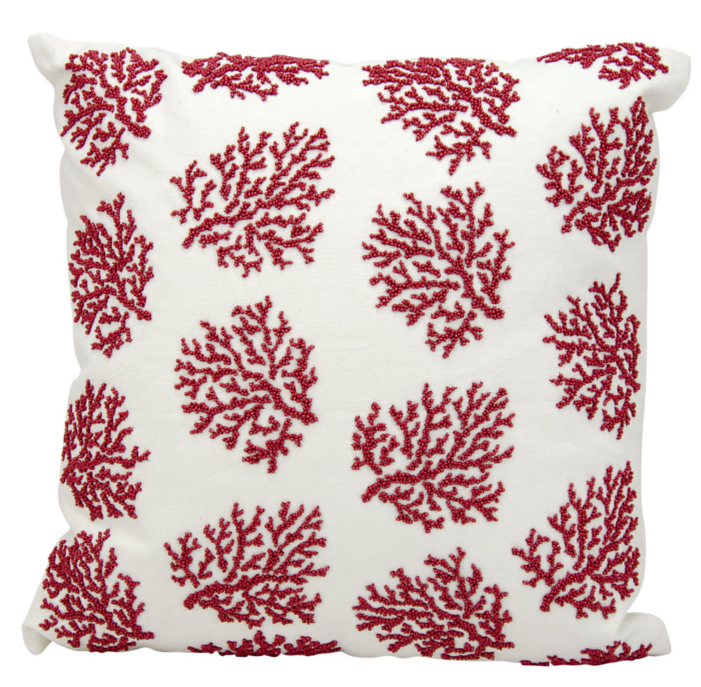 Nourison Outdoor Pillow E0403 Red White Rug Studio