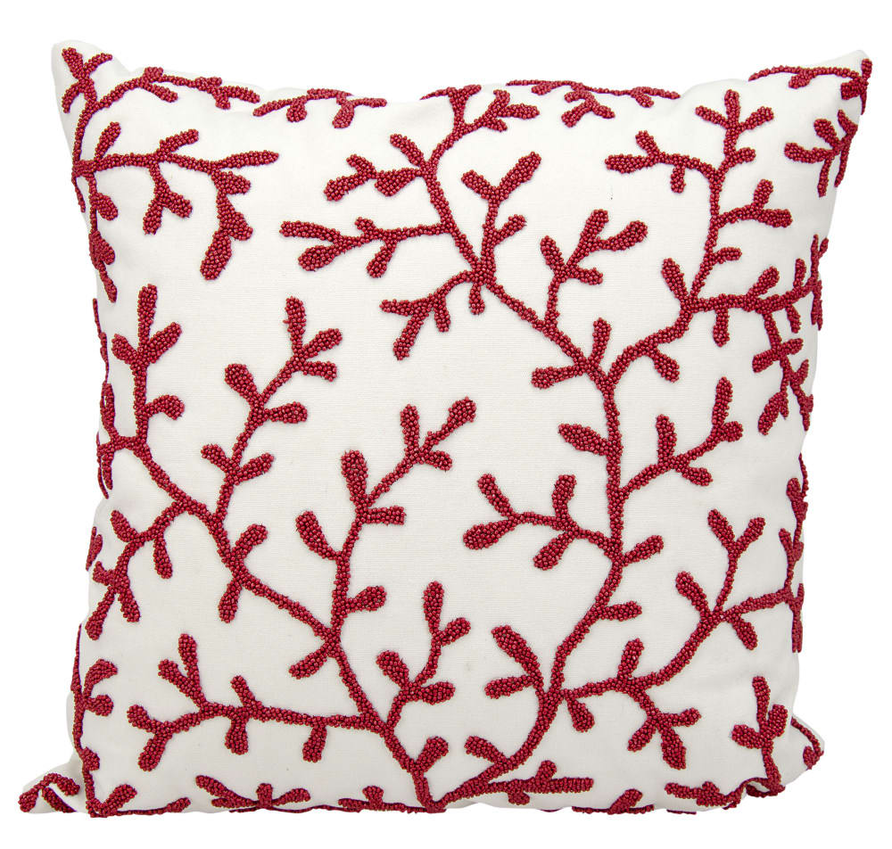 Nourison Outdoor Pillow E0406 Red White Rug Studio
