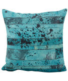 Nourison Pillows Natural Leather Hide S1975 Aqua - Green
