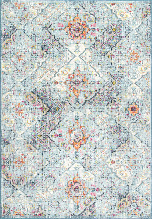 Nuloom Floral Tiles Gaddis Light Blue Area Rug