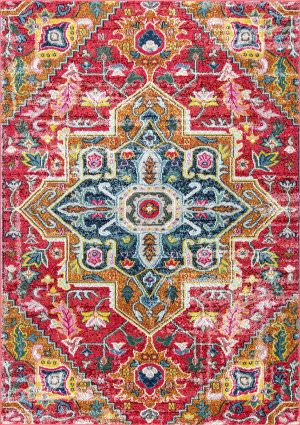 Nuloom Floral Medallion Lester Red Area Rug