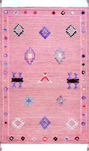 Nuloom Pictographs Ivey Pink Area Rug