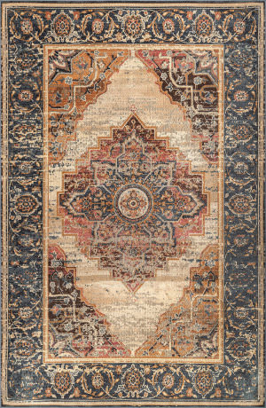 Famous Maker Traditional Cassandra Dark Blue Area Rug