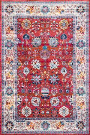 Nuloom Classic Tinted Floral Red Area Rug