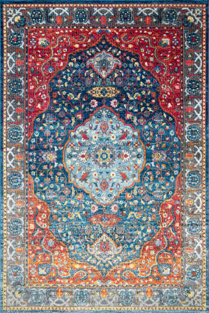 Nuloom Vintage Medallion Shirlee Blue Area Rug