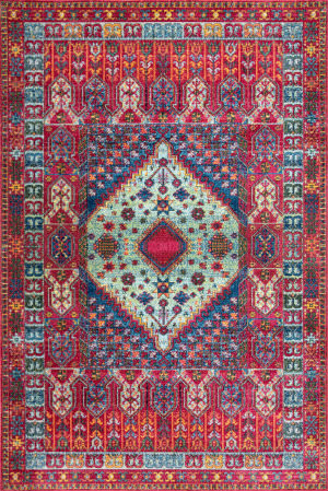 Nuloom Vintage Diamond Tribal Red Area Rug