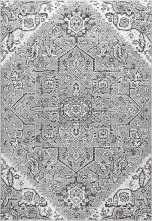 Nuloom Vintage Medallion Deeanna Grey Area Rug