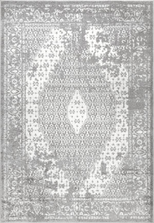 Nuloom Vintage Medallion Magee Dark Grey Area Rug