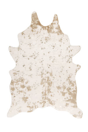 Nuloom Faux Cowhide Off-White - Gold Shimmer Area Rug