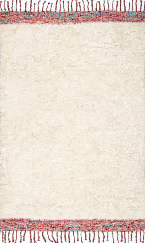 Nuloom Hand Tufted Solid Tassel Lane Cream Area Rug