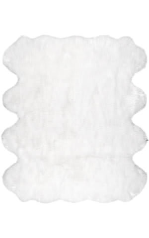 Nuloom Ayana Faux Sheepskin Octo White Area Rug