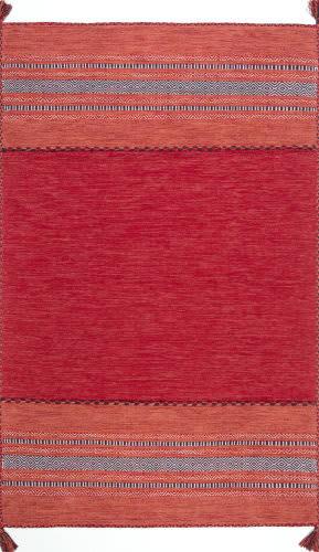 Nuloom Deetta Banded Tassel Red Area Rug