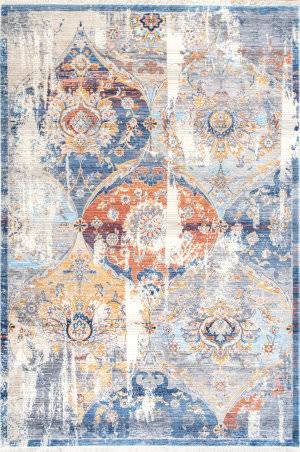 Nuloom Zenia Floral Fringe Blue Area Rug