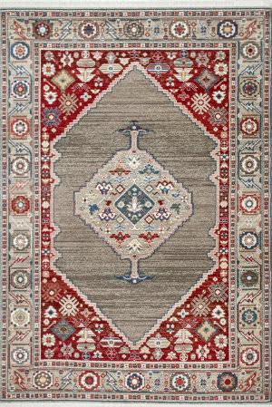Nuloom Murrell Medallion Fringe Tan Area Rug