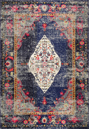 Famous Maker Vintage Veronica Navy Area Rug