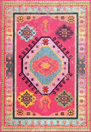 Famous Maker Bohemian Christie Pink Area Rug