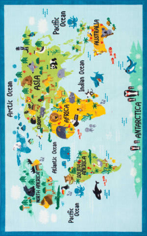 Nuloom Animal World Map Baby Blue Area Rug