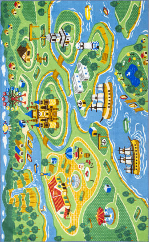 Nuloom Odil Harbor Town Printed Green Area Rug
