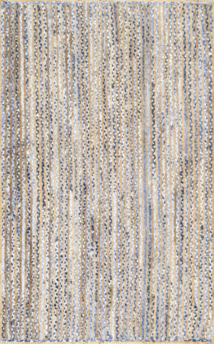 Nuloom Hand Braided Striped Dara Blue Area Rug