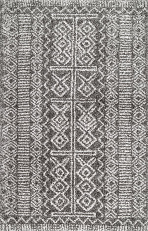 Famous Maker Hurley Tribal Dark Gray Area Rug