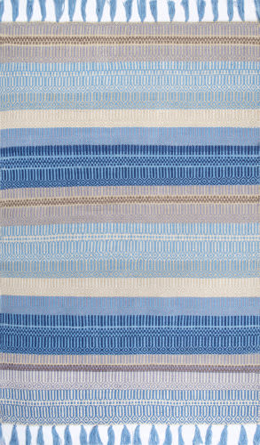 Nuloom Flatweave Tassel Indoor-Outdoor Light Blue Area Rug