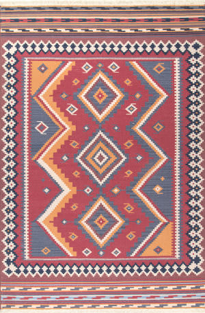 Famous Maker Audra Tribal Burgundy Area Rug