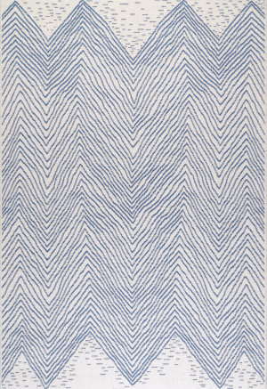 Famous Maker Wavy Chevron Blue Area Rug