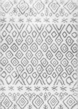 Nuloom Herzog Moroccan Diamond Grey Area Rug