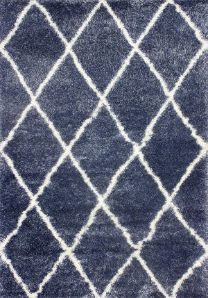 Nuloom Machine Made Diamond Shag Blue Area Rug