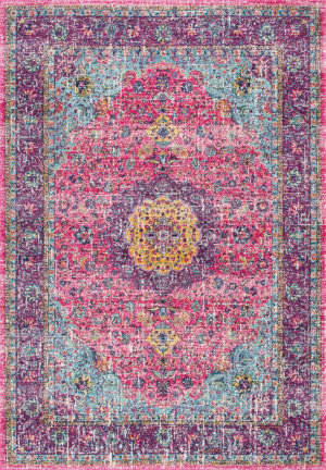 Famous Maker Verona Machine Made Pink Area Rug