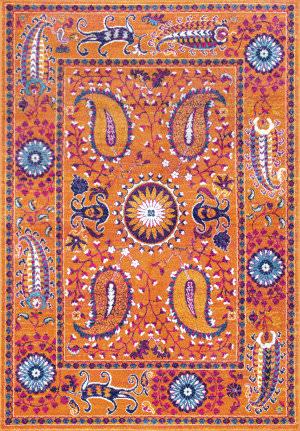 Nuloom Nikita Paisley Suzani Orange Area Rug
