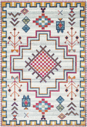 Famous Maker Richelle Tribal Silver Area Rug